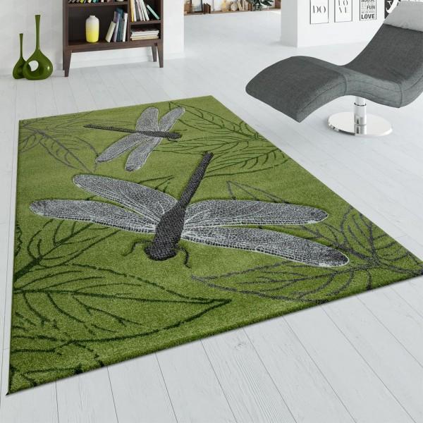 Teppich Wohnzimmer 3 D Libellen Design Blatter Grun