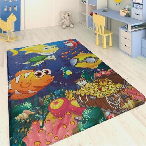 Kinderteppich Meerestiere Multicolor