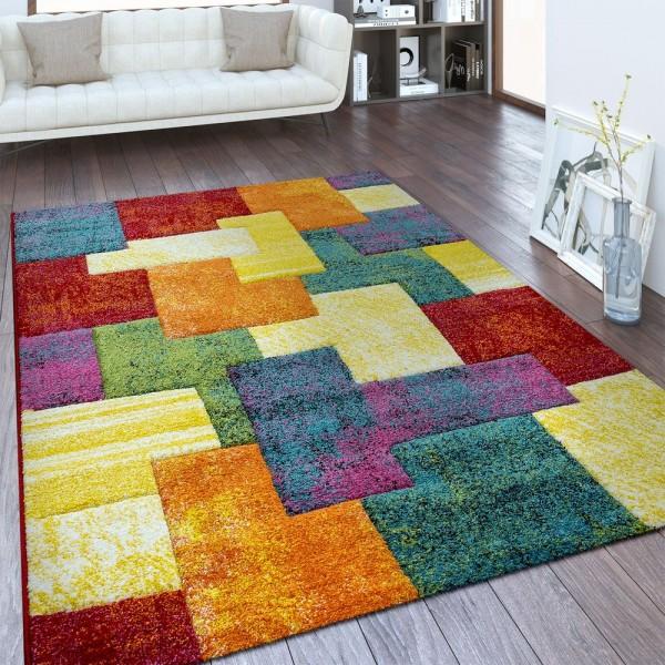 Designer Teppich Geometrisches Design Multicolor