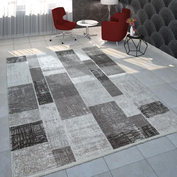 Teppich Wohnzimmer Polyacryl Kurzflor Vintage Kariertes Design In Anthrazit Grau