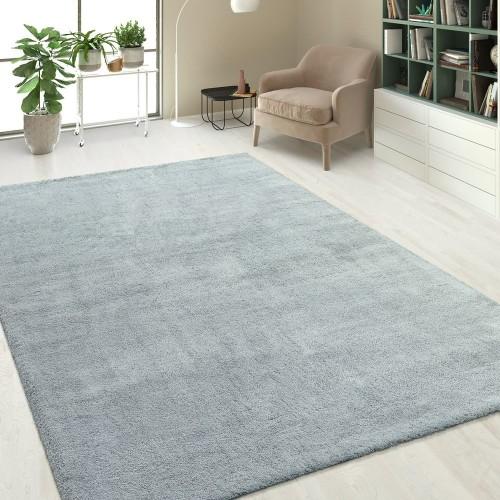 Hochflorteppich Soft Einfarbig Silber Grau