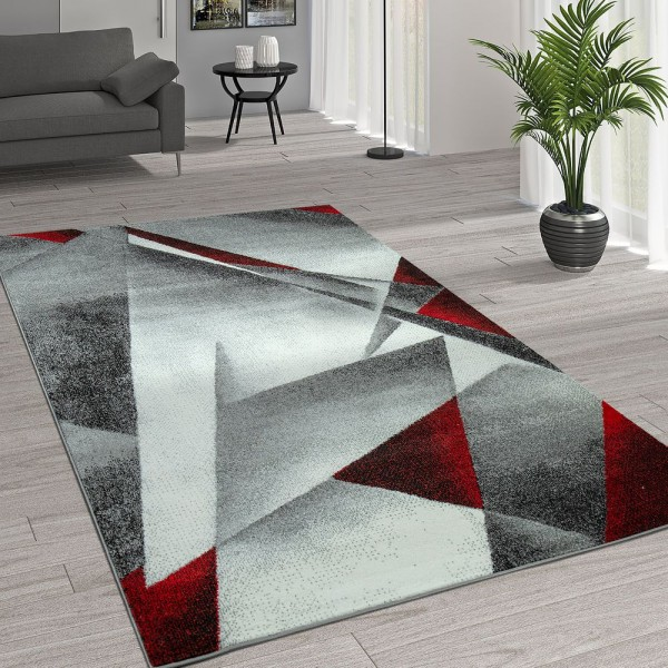 Kurzflor Wohnzimmer Teppich Moderne Melierung Geometrische Muster Grau Rot