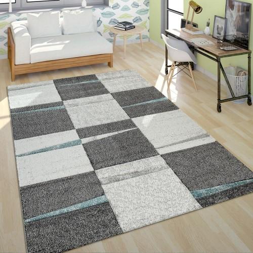 Moderner Kurzflor Teppich Wohnzimmer Design Mehrfarbig Kariert Akzente Türkis
