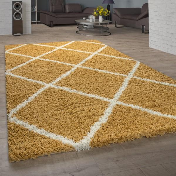 Hochflor-Teppich Skandi-Look Rauten