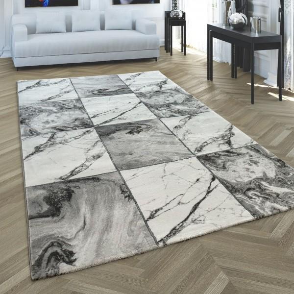 Teppich Wohnzimmer Rauten Muster Marmor Design Silber