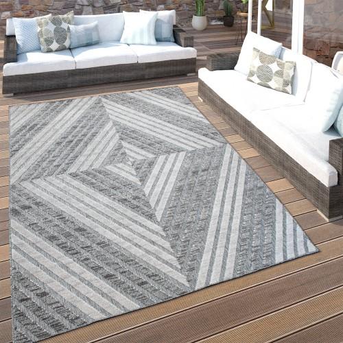 In- & Outdoor-Teppich 3-D Rauten-Muster Balkon