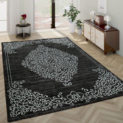 Morderner Kurzflor Wohnzimmer Teppich Ornamente Orient Muster In Grau Anthrazit