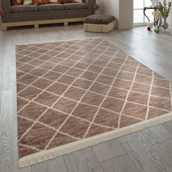Fransen Teppich Wohnzimmer Ethno Design Boho Karo Muster In Beige Creme