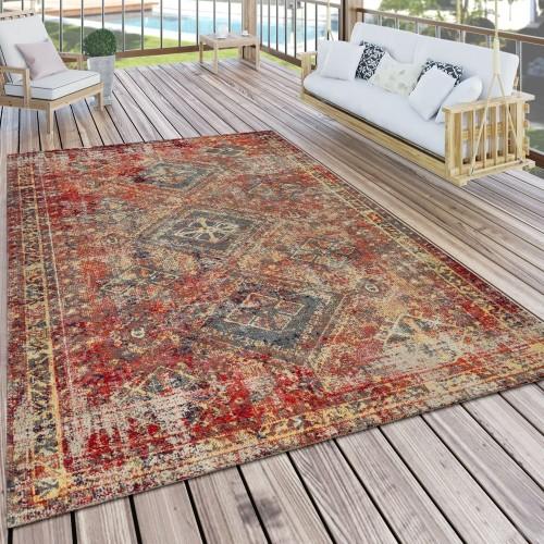 Teppich Outdoor Rot Terrasse Balkon Orientalisches Design Robust Wetterfest