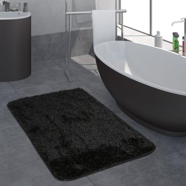 Moderner Hochflor Badezimmer Teppich Einfarbig Badematte Rutschfest In Schwarz