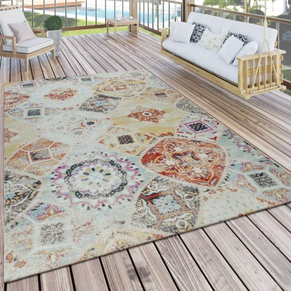 Teppich Outdoor Bunt Balkon Terrasse Rauten Muster Orient Blumen Design Robust