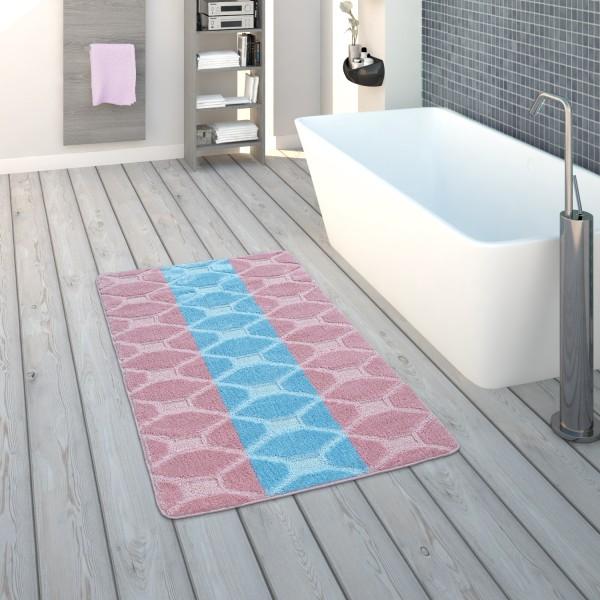 Badematte Kurzflor-Teppich Badezimmer Karo-Muster