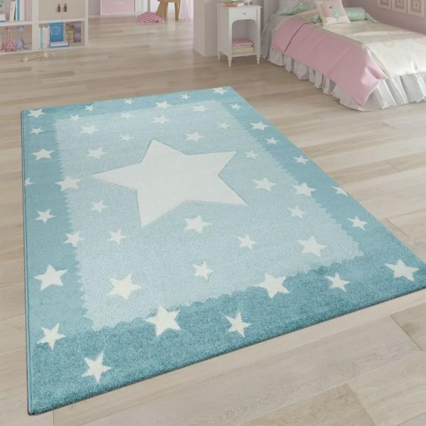 Teppich Kinderzimmer Blau Pastellfarben Weich 3-D Stern Design Bordüre Kurzflor