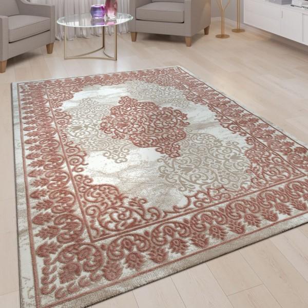 Orient Teppich Beige Rosa Rot Wohnzimmer 3-D-Design Vintage Muster Kurzflor