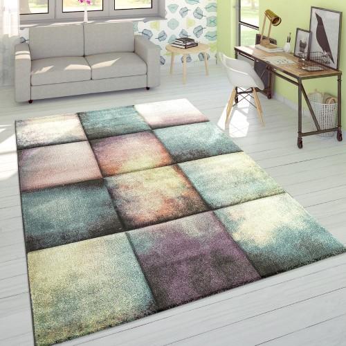 Designer Teppich Modern Konturenschnitt Karo Farbverlauf Pastell Mehrfarbig