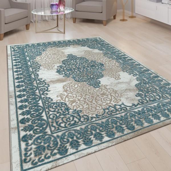 Wohnzimmer Teppich Beige Blau Türkis 3-D-Muster Orientalisches Design Kurzflor