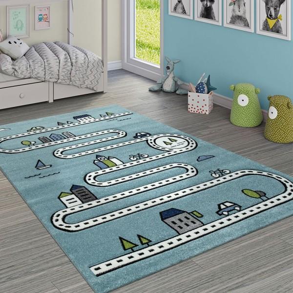 Kinderteppich Kinderzimmer Modern Lernteppich Straße Auto Haus Design In Blau