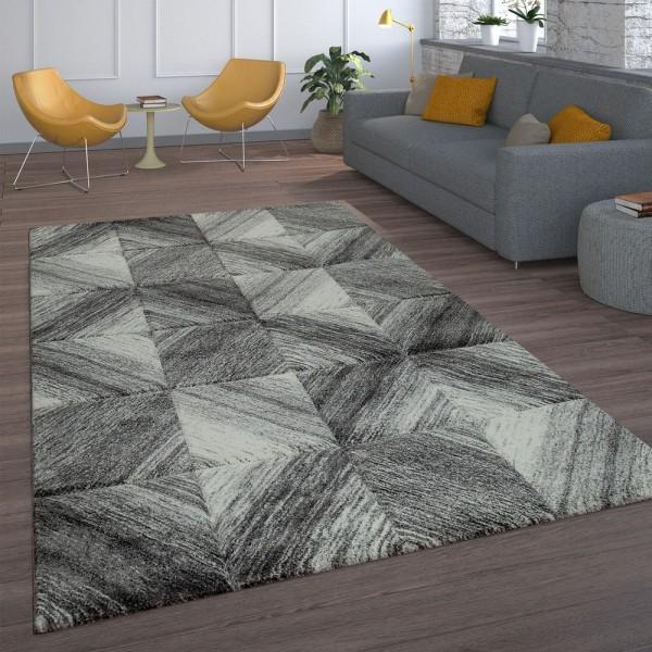 Kurzflor Teppich Grau Wohnzimmer Karo Muster Rauten Design Abstrakt Modern