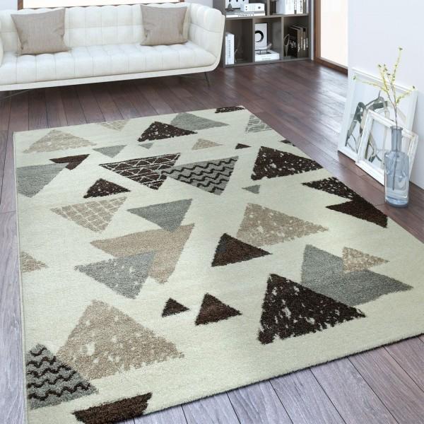 Designer Teppich Rauten Muster Weiß