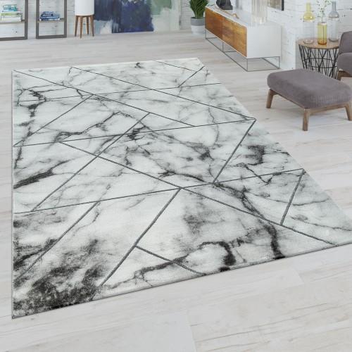 Kurzflor Wohnzimmer Teppich Modern Marmor Design Geometrisches Muster Grau Weiß