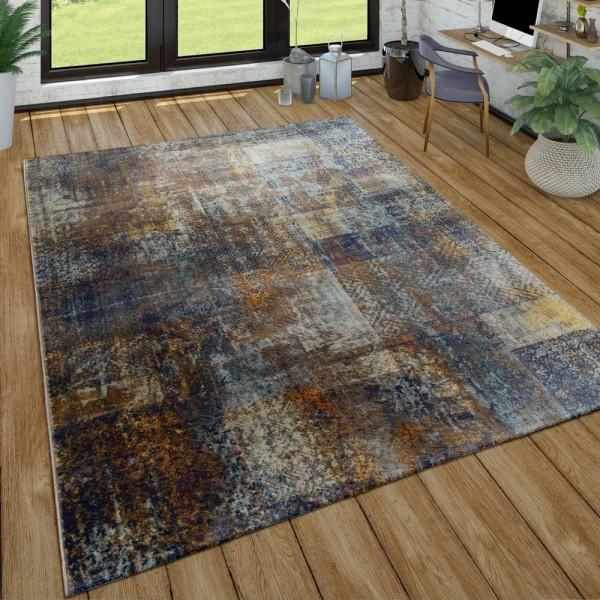 Kurzflor Teppich Wohnzimmer Used-Look Patchwork Industrie Style Modern In Bunt