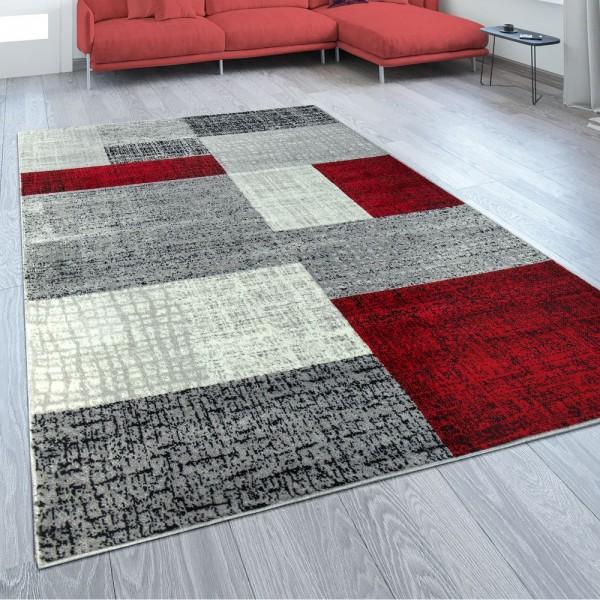 Designer Wohnzimmer Teppich Modern Kurzflor Karo Design Rot Grau Weiß