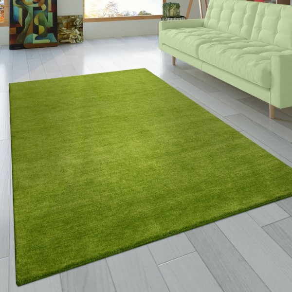 Teppich Handgeknotet Gabbeh Hochwertig 100% Wolle Dezent Meliert Grün