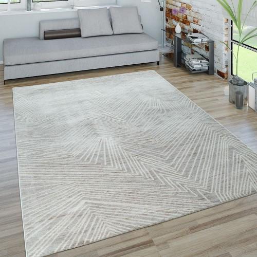 Kurzflor Wohnzimmer Teppich Zick Zack Muster 3D-Optik Modern In Grau Weiß