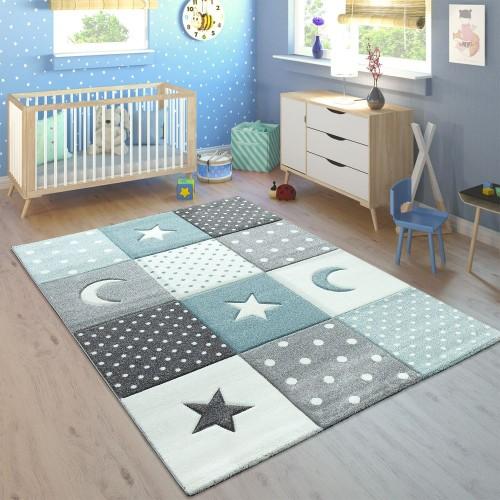 Kinderteppich Pastellfarben Kariert Punkte Herzen Sterne Weiß Grau Blau