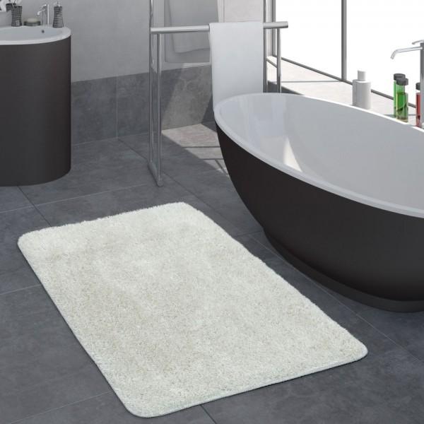 Moderner Hochflor Badezimmer Teppich Einfarbig Badematte Rutschfest In Weiß