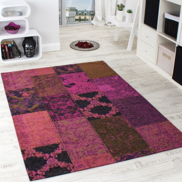 Vintage Teppich -Antik- Trendiger Patchwork Stil Designer Teppich Lila Violett