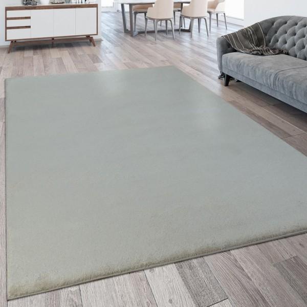 Kurzflor Wohnzimmer Teppich Waschbar Strapazierfähig Einfarbig Meliert In Creme
