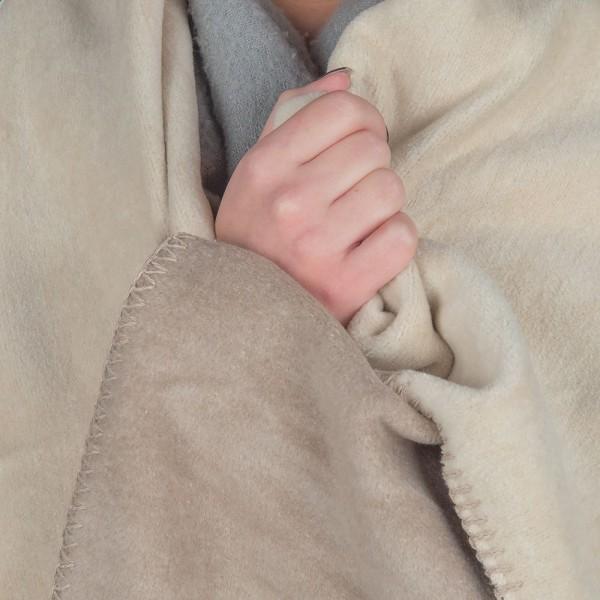 Kuscheldecke Mit Kissen Einfarbig Wendbares Decken-Set Flauschig Waschbar Creme