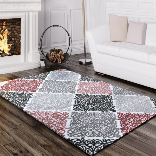 Designer Teppich Edel Barock Design Floral Muster Meliert Grau Creme Schwarz Pink