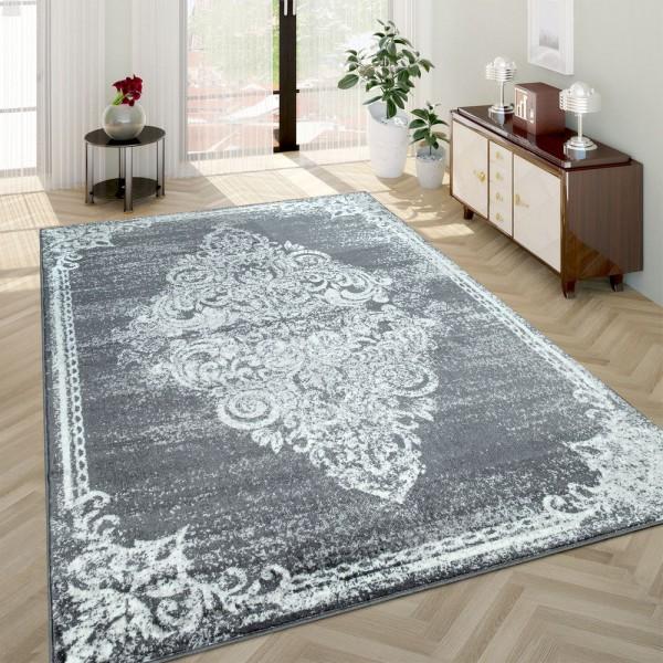 Barock-Teppich Wohnzimmer Used-Look Grau