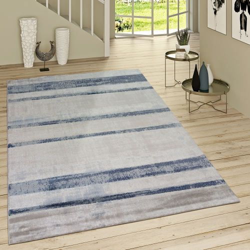 Kurzflor Teppich Used Look Jeansblau Modern Streifen Design Meliert Grau Blau