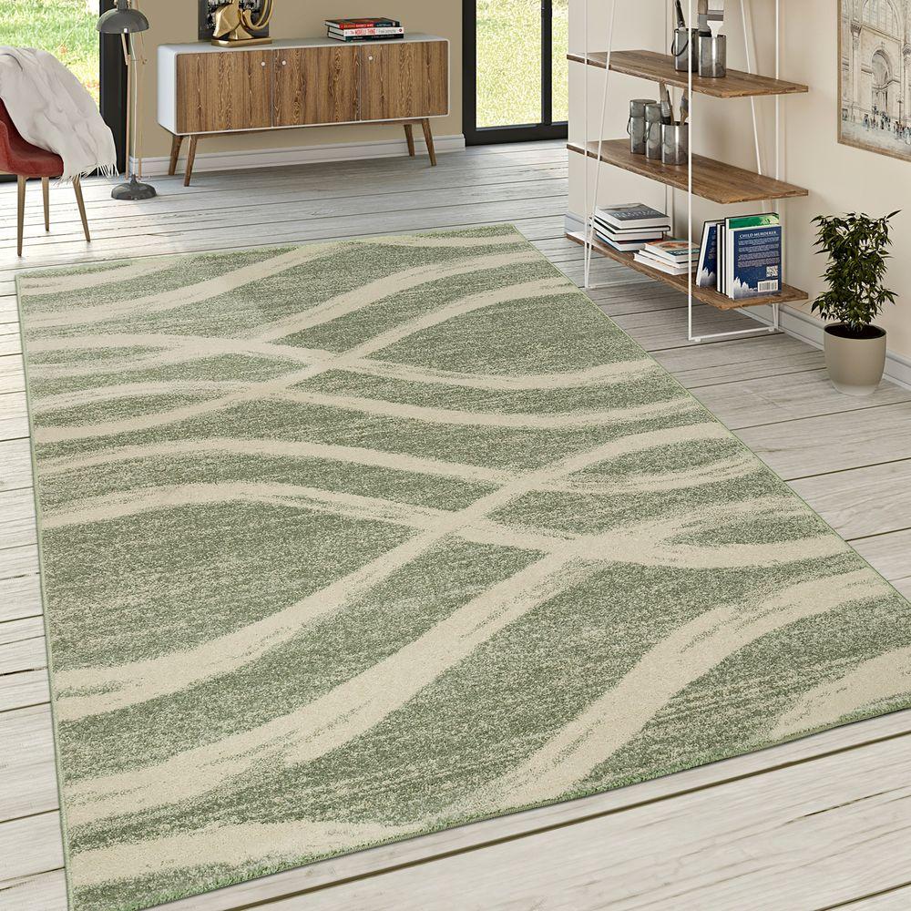 Wohnzimmer Teppich Wellen Muster Pastelltöne