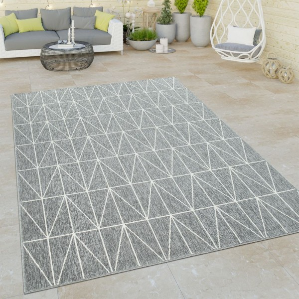 Outdoor Indoor Grau Teppich 3D Optik Skandi Look Skandinavisches Design Kurzflor