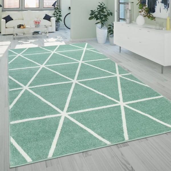 Teppich Wohnzimmer Grün Weiß Skandi Design Rauten Muster Robust Weich Kurzflor