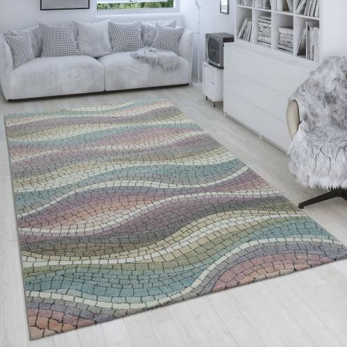 Retro Teppich Wohnzimmer 3-D Design Mosaik Wellen