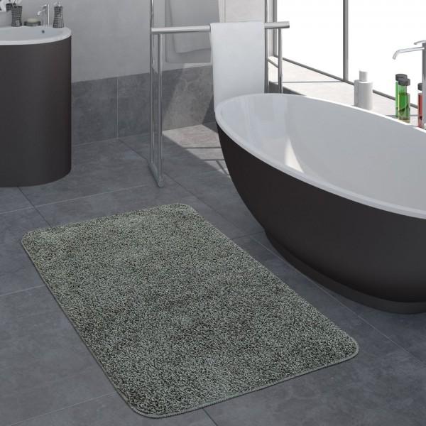 Moderner Badezimmer Teppich Einfarbig Hochflor Badteppich Rutschfest In Grau