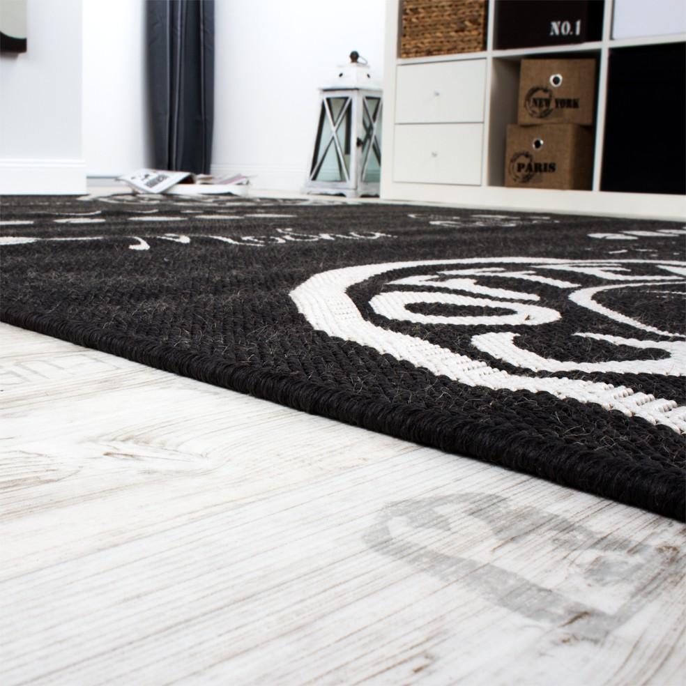 Teppich Wohnzimmer Sisal Optik Anthrazit