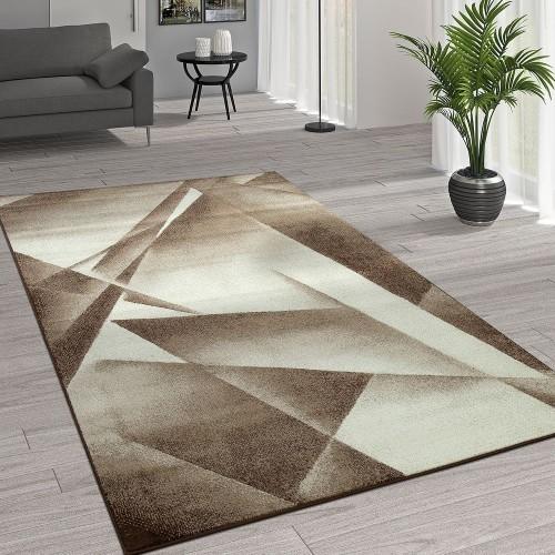 Kurzflor Wohnzimmer Teppich Moderne Melierung Geometrische Muster Creme Beige