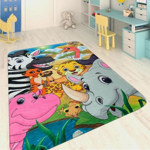Kinderteppich Safari Tiere Multicolor