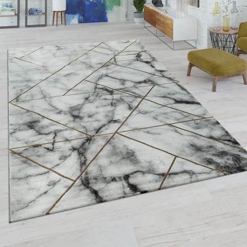Kurzflor Wohnzimmer Teppich Modern Marmor Design Geometrisches Muster Grau Gold