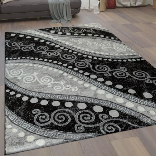 Moderner Kurzflor Wohnzimmer Teppich Wellen Ornamente Punkte In Schwarz Grau