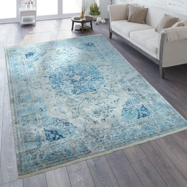 Orient Teppich Vintage Optik Ornamente Blau