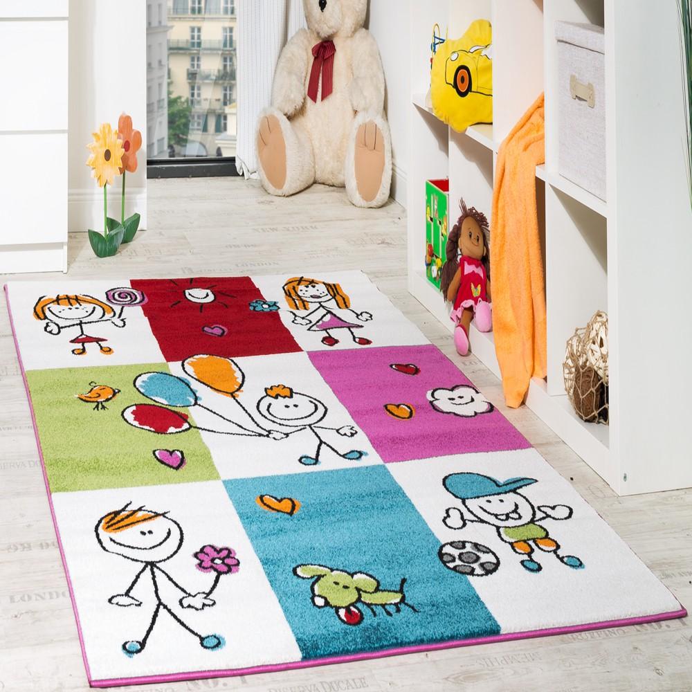 Teppich Kinderzimmer Kids Karo Muster Mehrfarbig