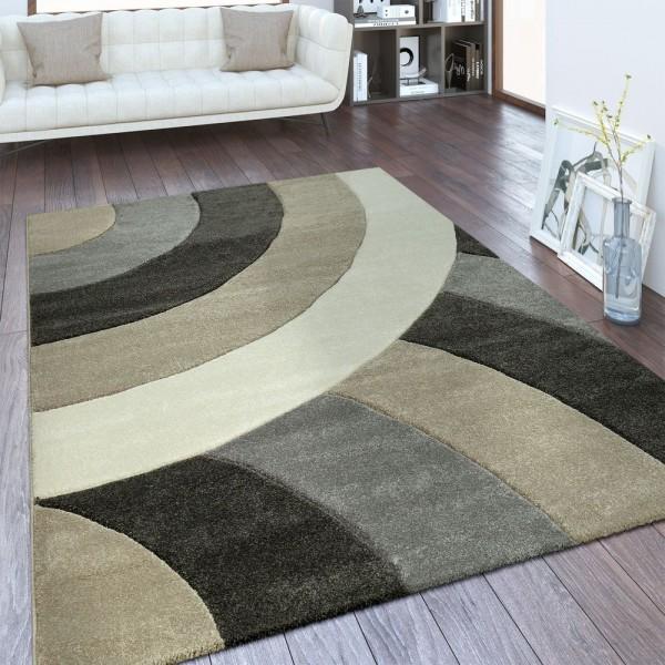 Designer Teppich Halbkreise Beige Braun