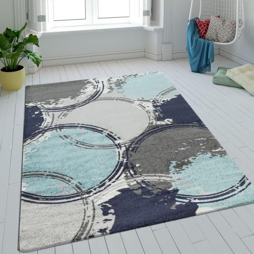 Teppich Wohnzimmer Kurzflor Kreise Batik In Blau Grau Türkis Retro Optik